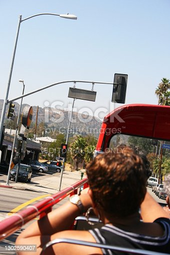 Los Angeles, United States - May 3, 2008: Visitors taking photo with hollywood sign in the background.