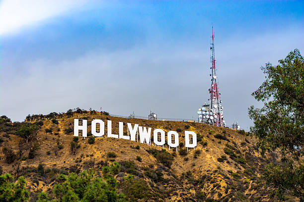 Hollywood Sign and Transmitter Tower stock photo