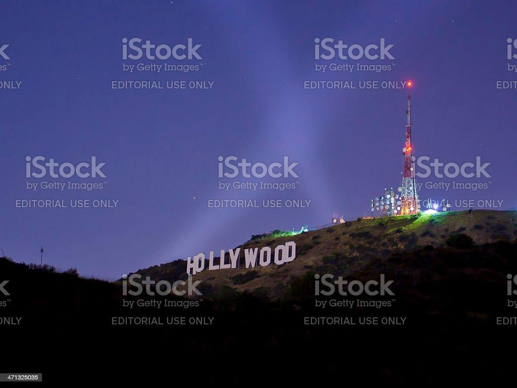 Hollywood Sign at night stock photo