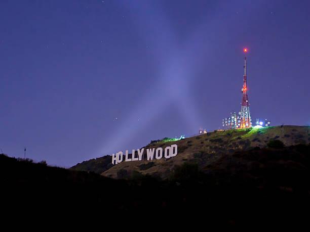 hollywood sign at night - hollywood sign bildbanksfoton och bilder