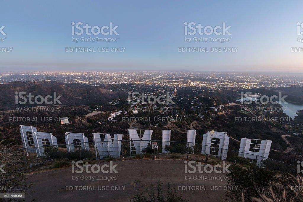 Hollywood Sign Dusk stock photo