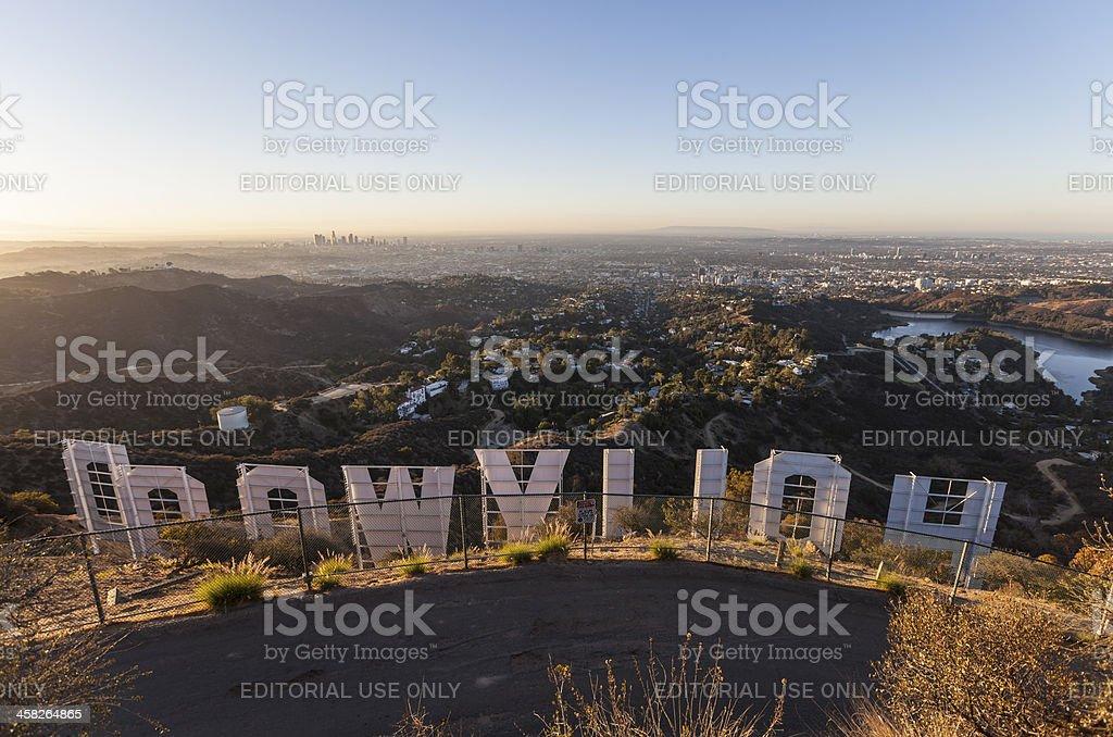 Hollywood Sign Morning stock photo