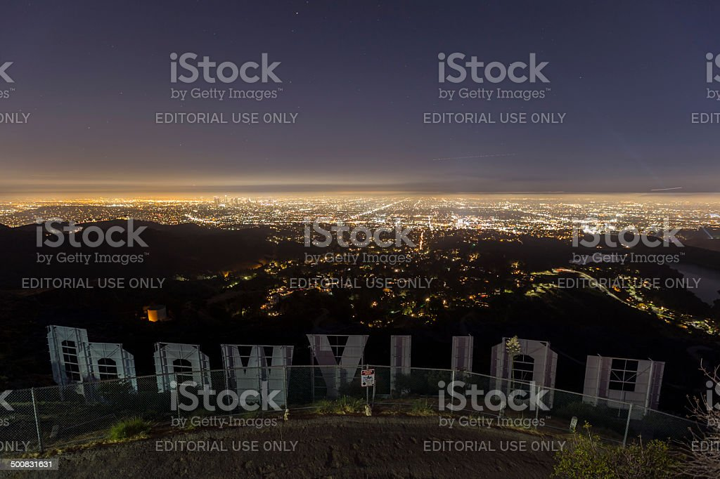 Hollywood Sign Night Editorial stock photo