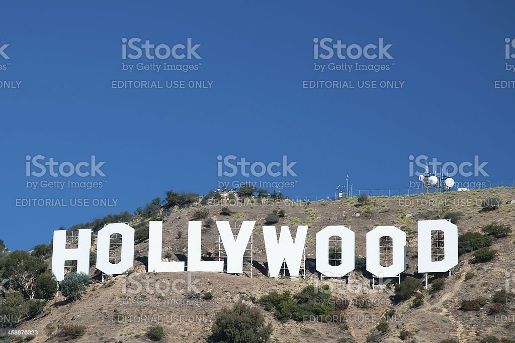 Hollywood sign on Santa Monica mountains in Los Angeles royalty-free stock photo