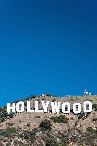 hollywood sign on santa monica mountains in los angeles - hollywood sign bildbanksfoton och bilder