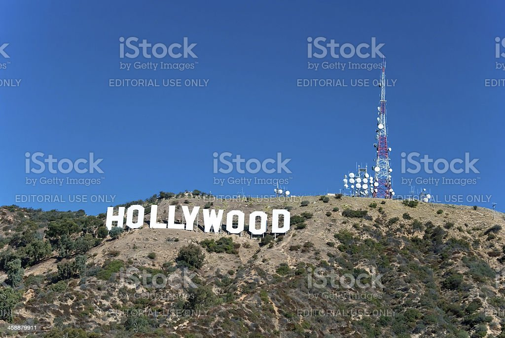 Hollywood sign on Santa Monica mountains in Los Angeles stock photo