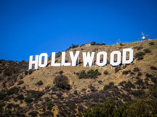 Hollywood Sign Los Angeles, United States - January 10, 2016: Close-up of the famous Hollywood Sign. Photograph taken from Mulholland Drive.  hollywood california stock pictures, royalty-free photos & images