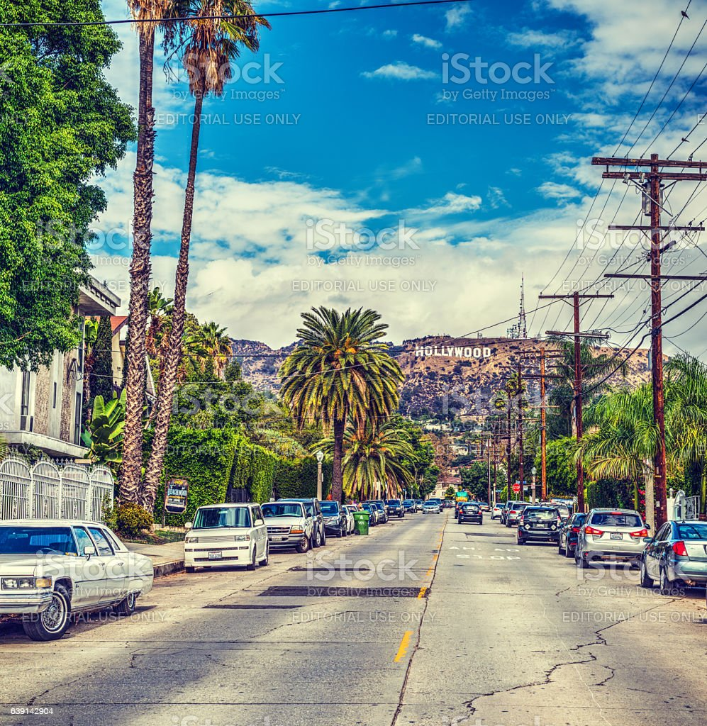 Hollywood sign seen from a picturesque street stock photo