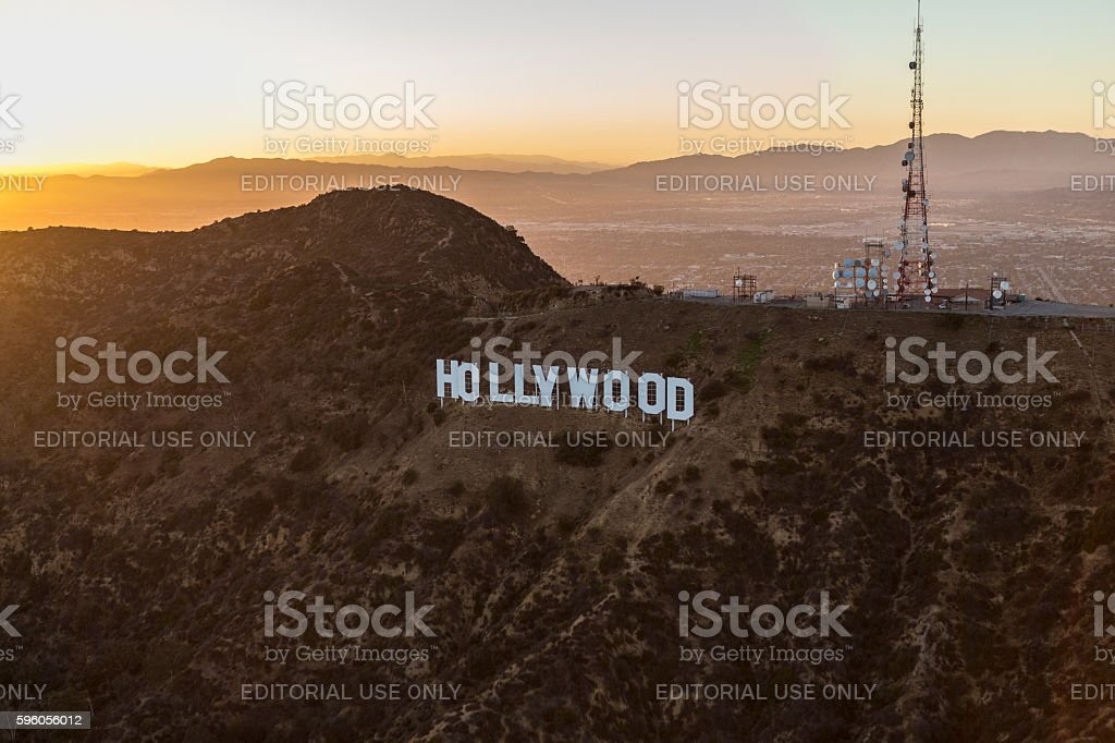 Hollywood Sign Summer Sunset Aerial stock photo