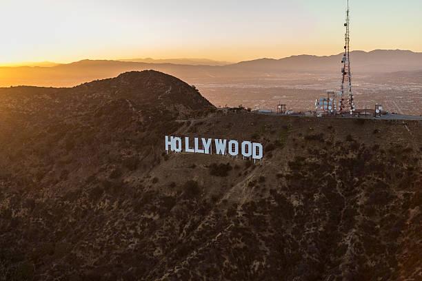 hollywood sign summer sunset aerial - hollywood sign bildbanksfoton och bilder