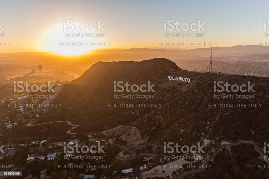 Hollywood Sign Sunset Aerial stock photo