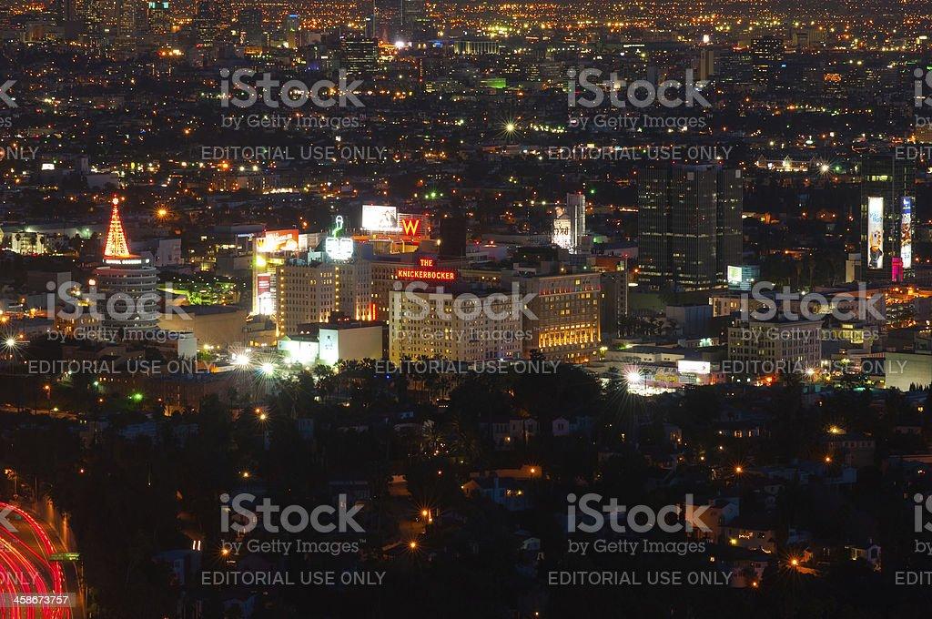 Hollywood Skyline at Night stock photo