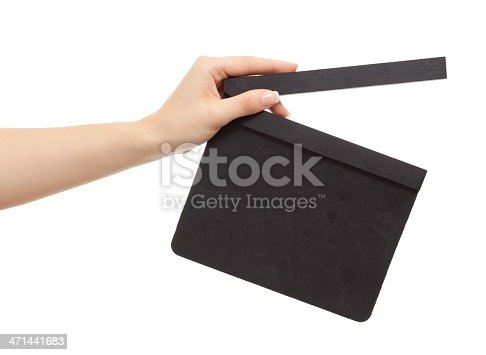 istock Hollywood Slate board in woman hand isolated 471441683