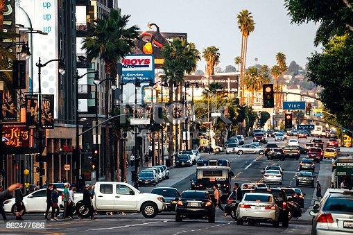 Hollywood traffic, Los Angeles, California, USA