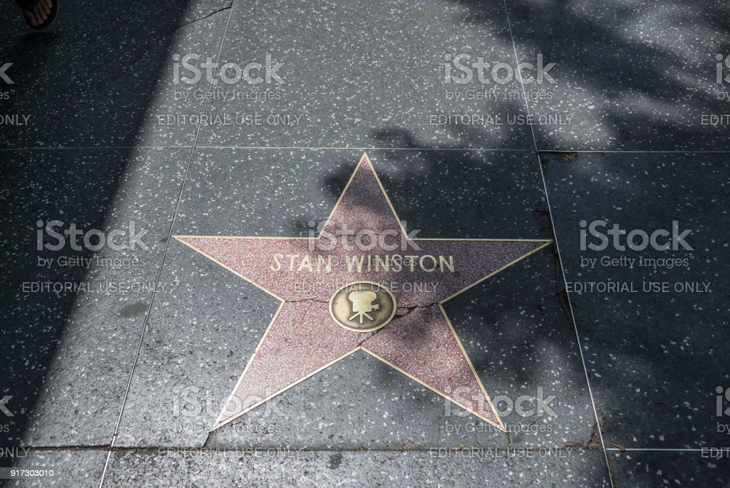 Hollywood Walk of Fame. Gold stars of famous actors stock photo