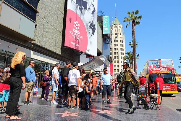 Hollywood Walk of Fame Los Angeles, United States - April 5, 2014: People walk famous Walk of Fame in Hollywood. Hollywood Walk of Fame features more than 2,500 stars with inscribed celebrity names. hollywood boulevard stock pictures, royalty-free photos & images