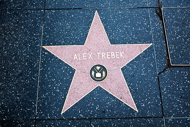 "Hollywood Walk Of Fame Star Alex Trebek ""Hollywood, California, USA - February 5, 2013: Hollywood Walk Of Fame Alex Trebek achievement in the entertainment industry star."" alex trebek jeopardy stock pictures, royalty-free photos & images"