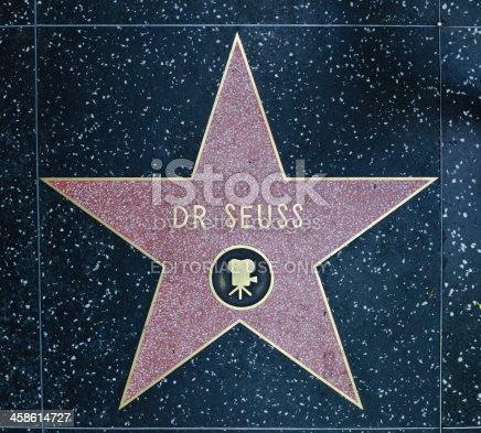 Los Angeles, USA - August 18, 2011:  The Hollywood Walk of Fame star of Dr. Seuss located on Hollywood Blvd. that was awarded in 2004 for achievement in motion pictures.