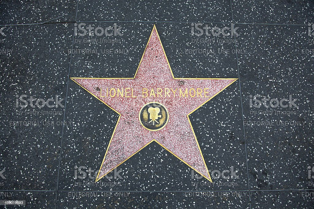Hollywood Walk Of Fame Star Lionel Barrymore stock photo