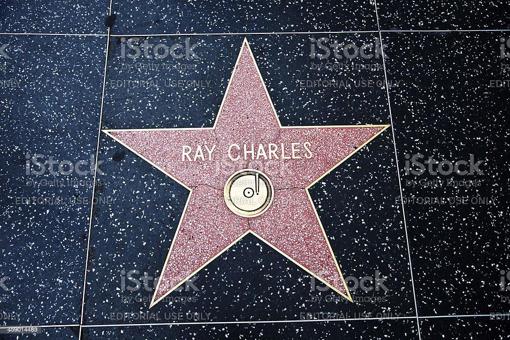 Hollywood Walk Of Fame Star Ray Charles stock photo