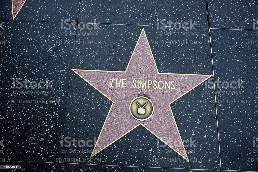 Hollywood Walk Of Fame Star The Simpsons stock photo