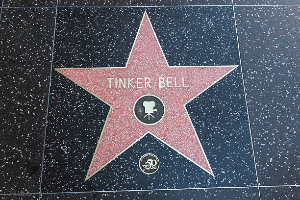 Hollywood Walk of Fame Star Tinker Bell Los Angeles, USA - January 17, 2014:  The Hollywood Walk of Fame star of Tinker Bell located on Hollywood Blvd. that was awarded in 2010 for achievement in motion pictures. peter pan stock pictures, royalty-free photos & images