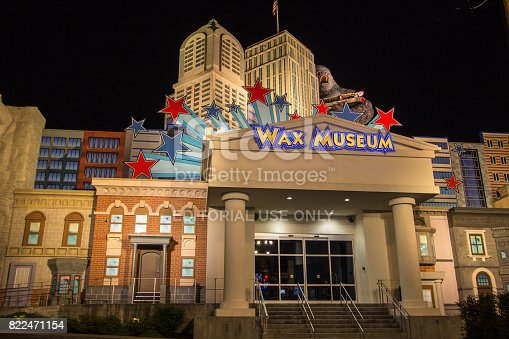 Pigeon Forge, Tennessee, USA - May 15, 2017: Illuminated exterior of the Hollywood Wax Museum in the Smoky Mountain popular resort town of Pigeon Forge.