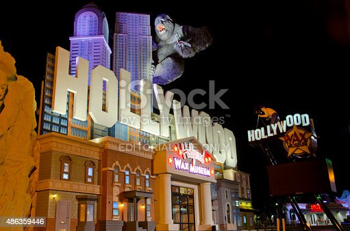Branson, United States - December 9, 2014: The Hollywood Wax Museum in Branson, Missouri grabs tourists' attention with a skyline and a giant King Kong gorilla on its roof!