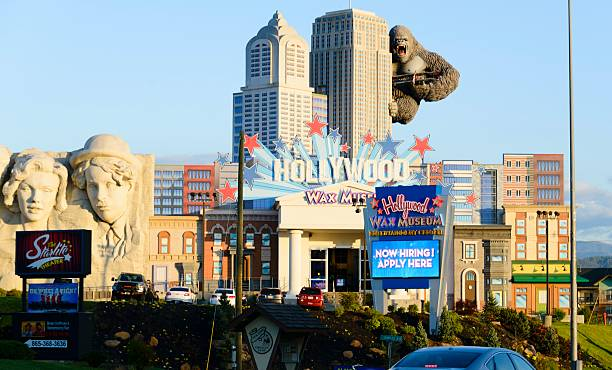 Hollywood Wax Museum, Pigeon Forge Pigeon Forge, Tennessee, USA - April 23, 2016: The Hollywood Wax Museum, one of the many colorful attractions in the resort town of Pigeon Forge, TN.  pigeon forge stock pictures, royalty-free photos & images