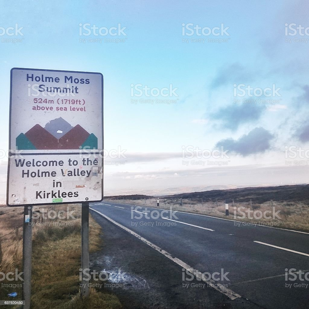Holme Moss Summit Sign stock photo