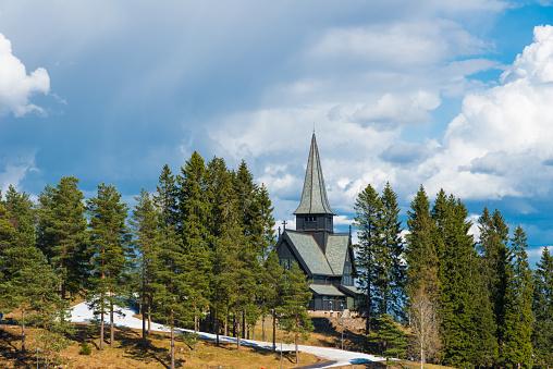 Holmenkollen Chapel in the near of the biathlon track - Oslo, Norway in spring