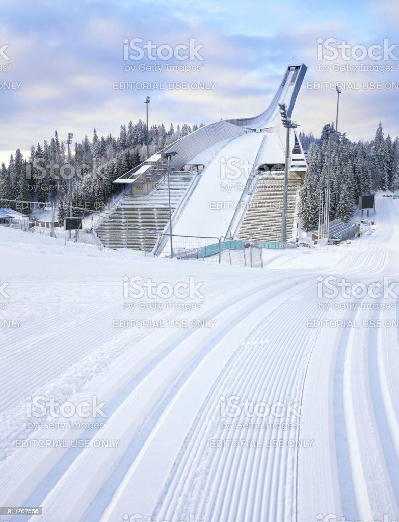 Holmenkollen ski arena in the winter, Oslo Norway stock photo