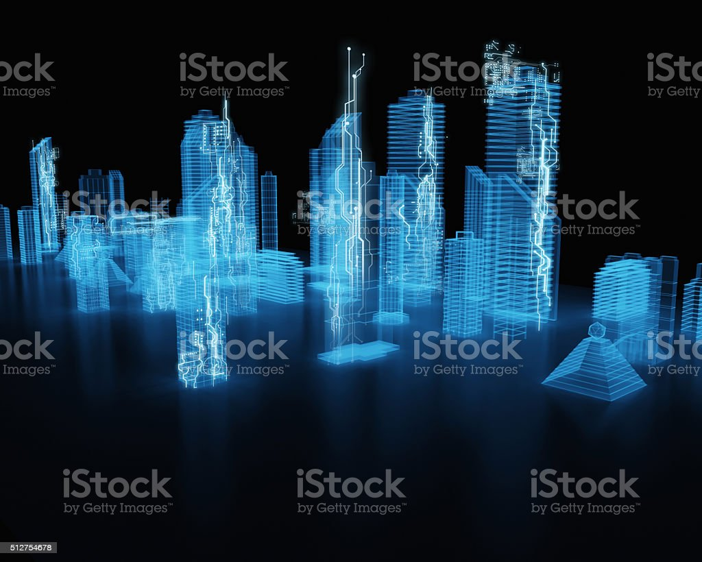 hologram futuristic interface city stock photo
