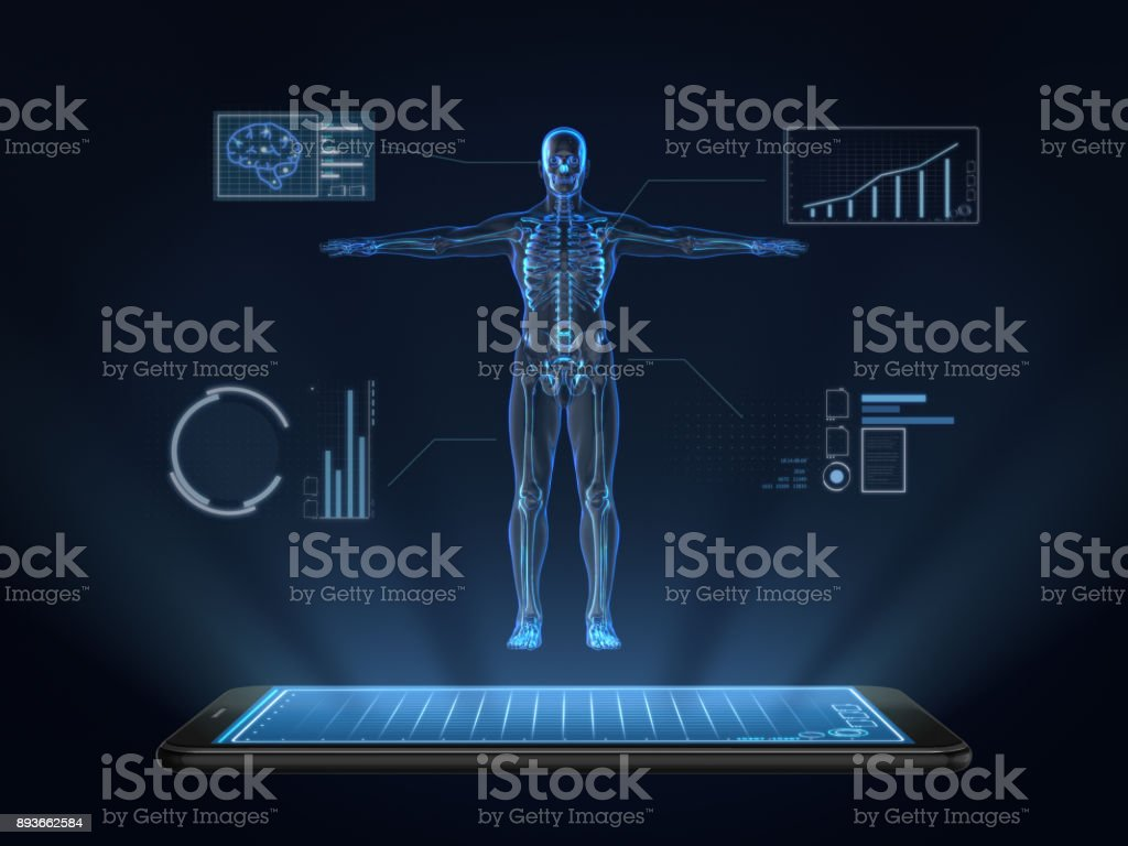 Hologram Human anatomy and skeleton on smartphone,Medical Technology stock photo