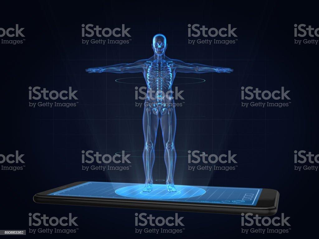 Hologram human anatomy and skeleton on smartphonemedical technology blueprint body part computer data human body part malvernweather Choice Image