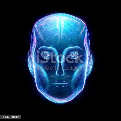 istock Hologram of a robot head, artificial intelligence on a black background. Concept neural networks, autopilot, robotization, industrial revolution 4.0. 3D illustration, 3D rendering. 1147918323