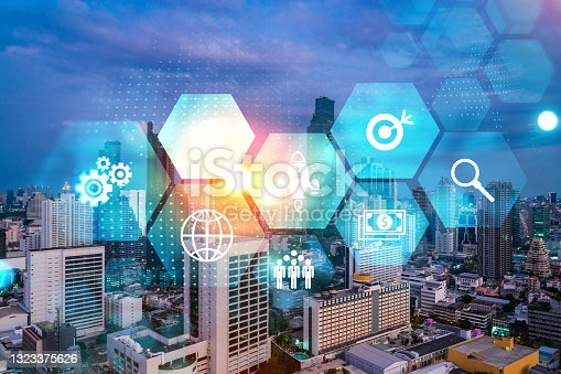 istock Hologram of Research and Development glowing icons. Sunset panoramic city view of Bangkok. Concept of innovative technologies to create new services and products in Asia. Double exposure. 1323375626