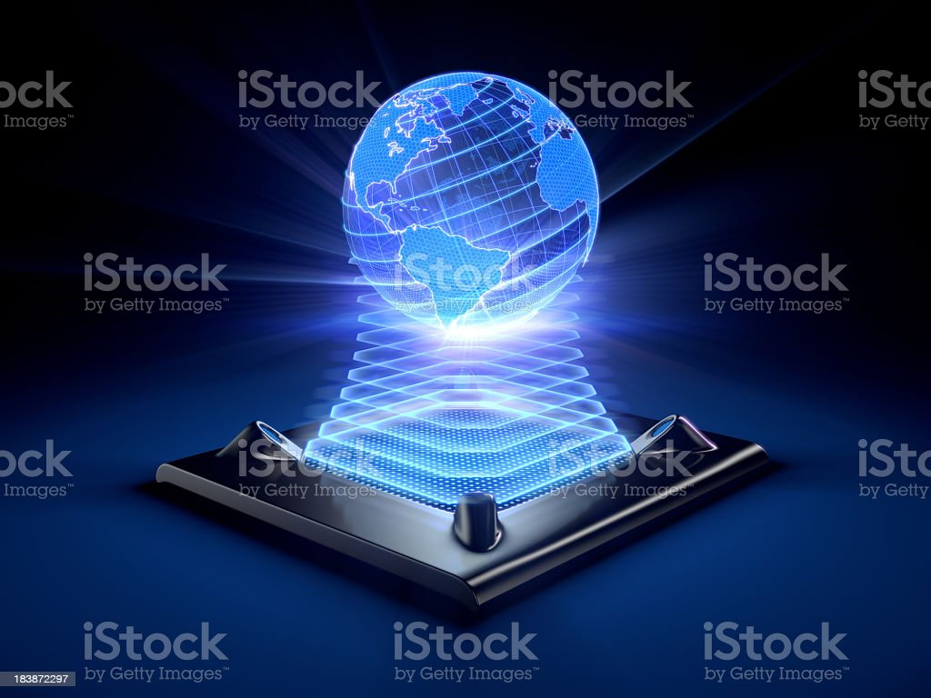 Hologram of the globe projected by a desktop device royalty-free stock photo