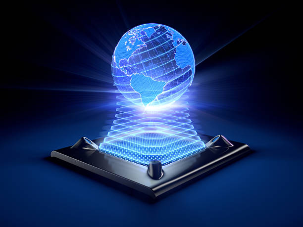 hologram of the globe projected by a desktop device - hologram stock photos and pictures