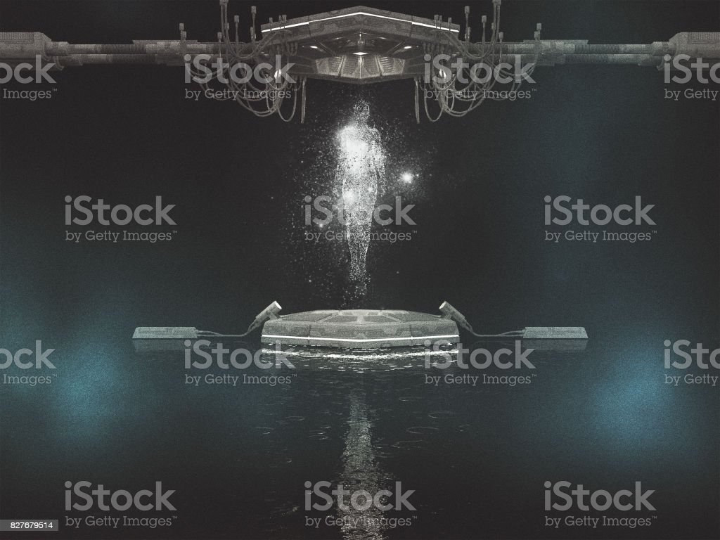 Hologram projection stock photo
