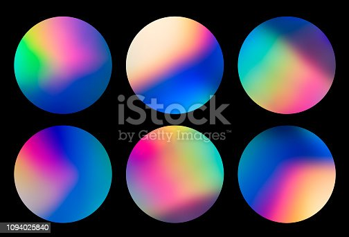 istock Holographic abstract spectrum vaporwave circular designs background pattern 1094025840