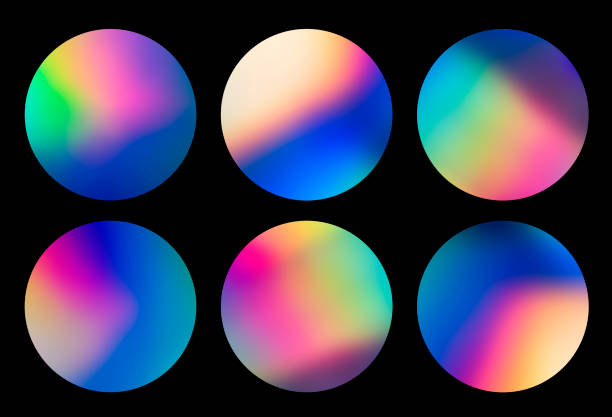 holographic abstract spectrum vaporwave circular designs background pattern - badge logo stock pictures, royalty-free photos & images