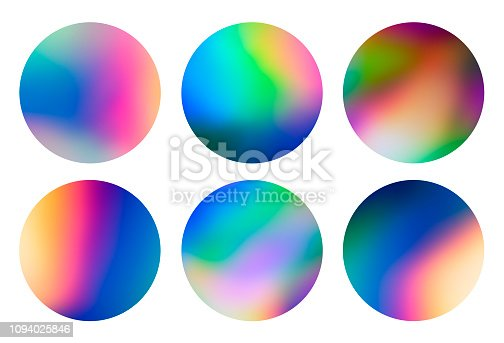 istock Holographic abstract spectrum vaporwave circular designs background pattern 1094025846