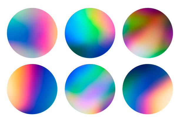holographic abstract spectrum vaporwave circular designs background pattern - badge logo stock photos and pictures