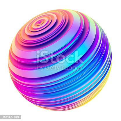 1007273724 istock photo Holographic abstract twisted shape ribbed sphere 1023991086