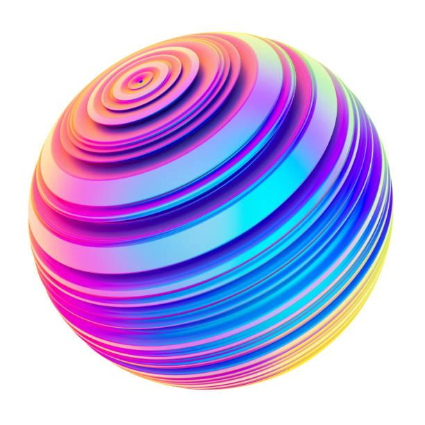 Sphère holographique forme torsadée abstraite striée - Photo