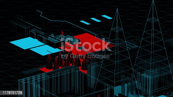 489599728 istock photo Holographic city on a mother board 1178751729