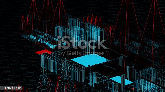 489599728 istock photo Holographic city on a mother board 1178751742