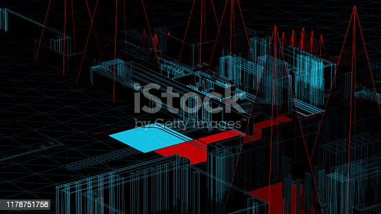 489599728 istock photo Holographic city on a mother board 1178751758