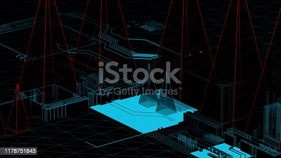 489599728 istock photo Holographic city on a mother board 1178751843
